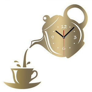 Acrylic Coffee Teapot Wall Clock
