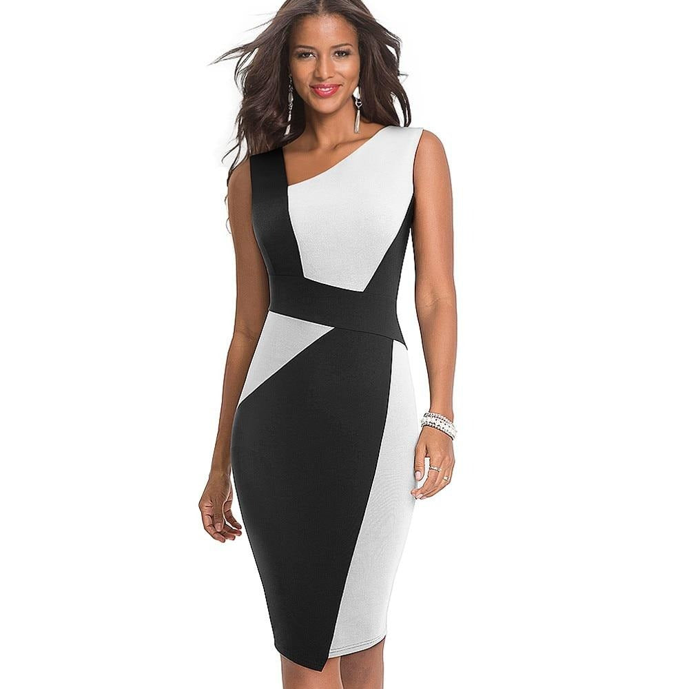 Contrast Color Bodycon Elegant Dress