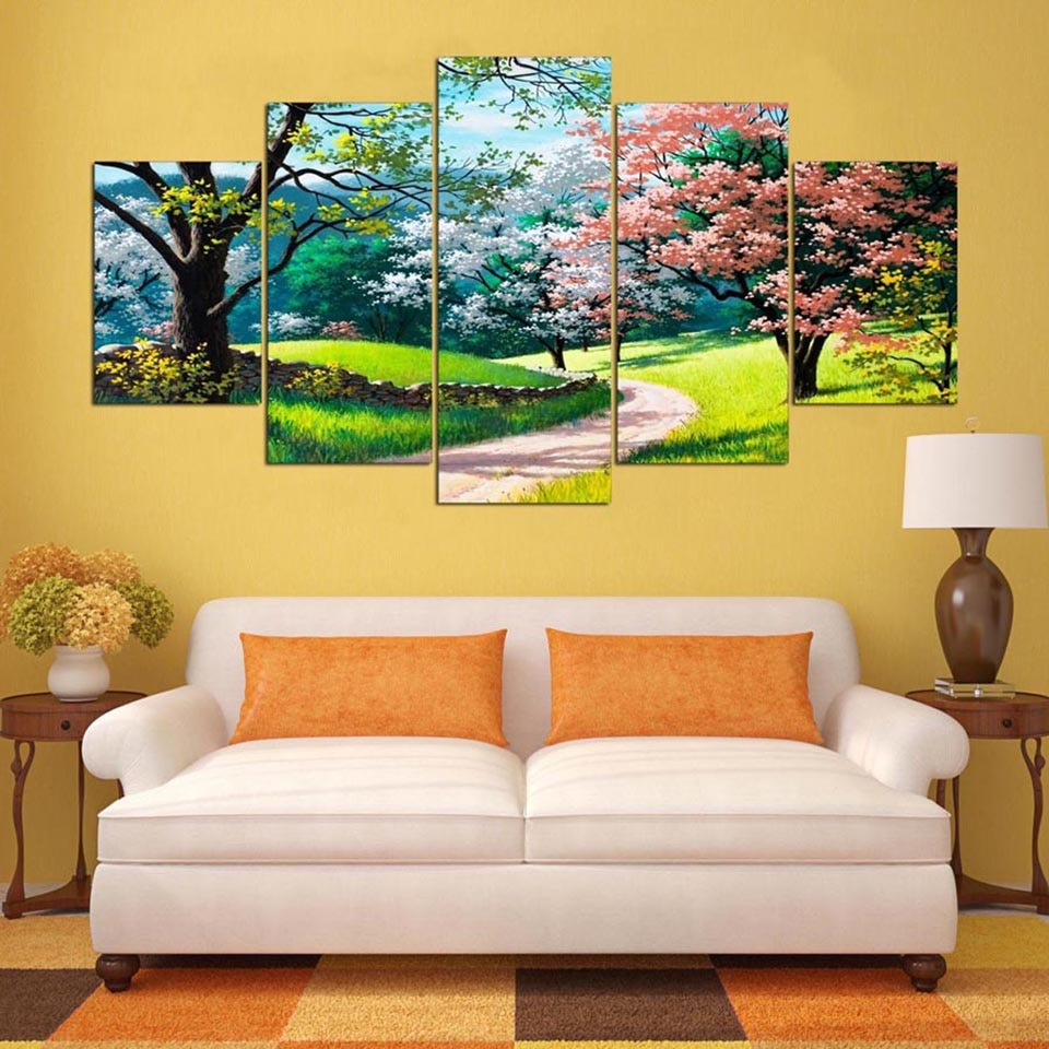 Colorful Spring Trees 5 Panel Canvas Wall Art