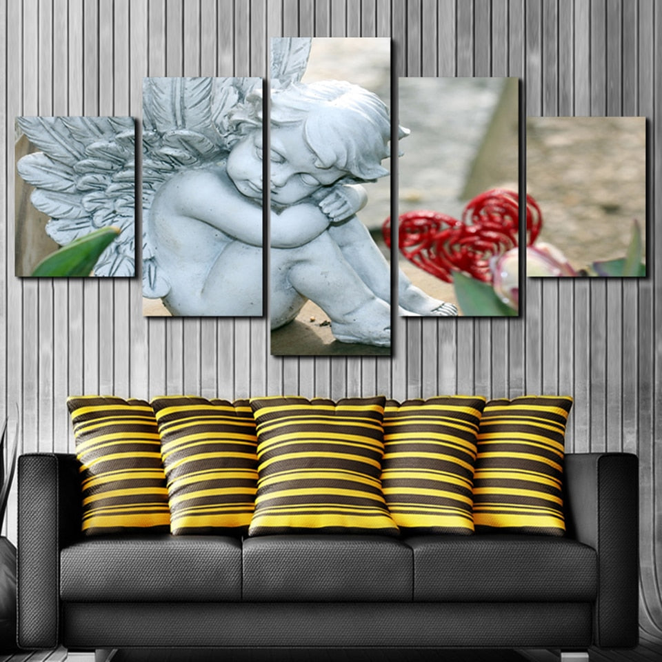5 Panel Angel Child Statue Canvas Wall Art