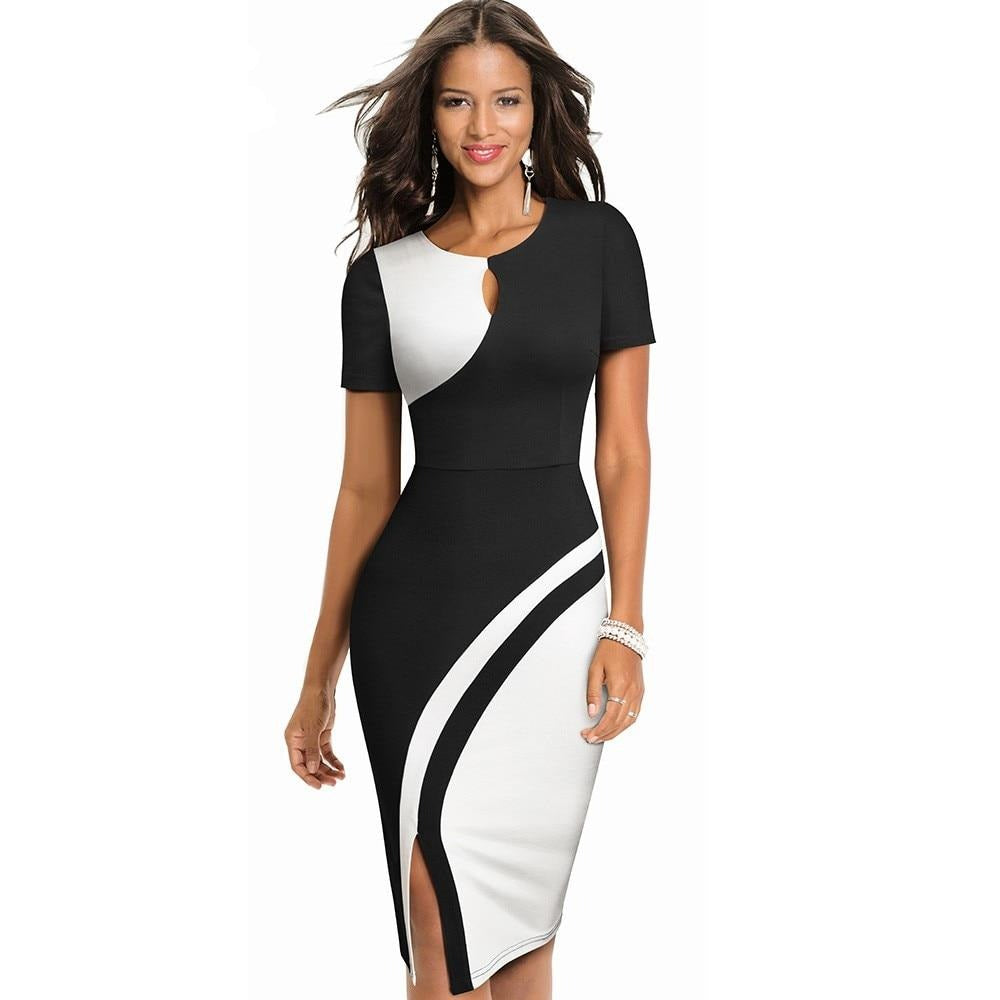 Stylish Contrast Color Bodycon Dress