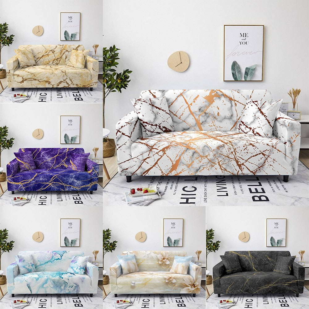 Marble Print Stretch Sofa / Couch Covers