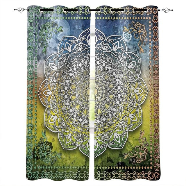 Mandala Lotus Flower Modern Luxury Window Curtains
