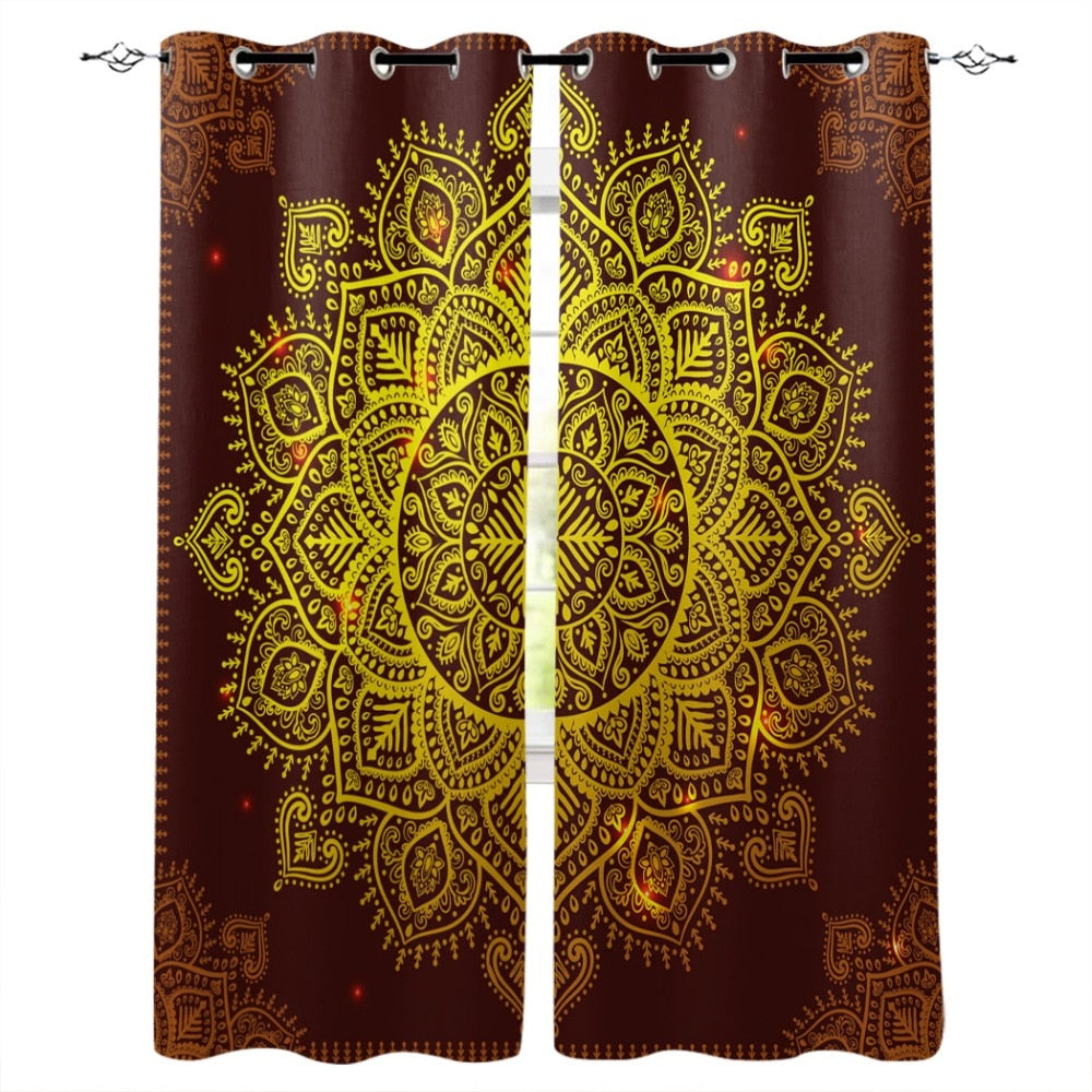 Mandala Lotus Flower Pattern Modern Luxury Window Curtains