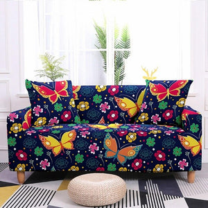 1-4 Seater Stretch Butterfly Print Polyester Sofa Couch Cover