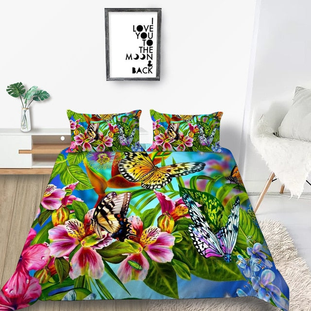 Butterfly And Flower Duvet Cover Set