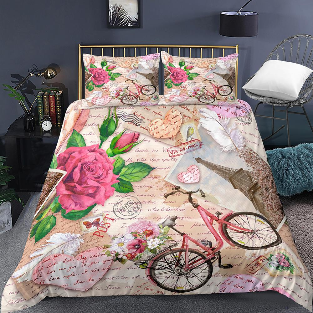 Eiffel Tower Retro Bicycle Printed Doona Cover Set