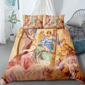 Angel Oil Print Quilt Cover Bedding Set