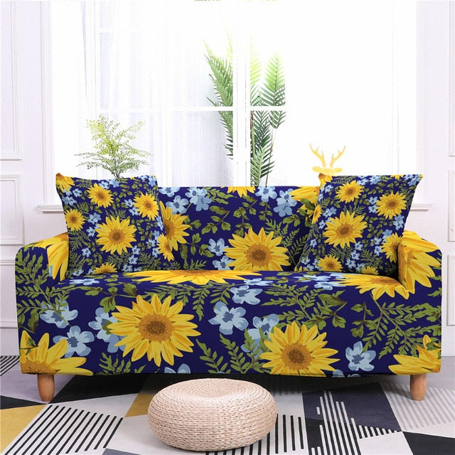Sunflower Print Elastic Couch Cover