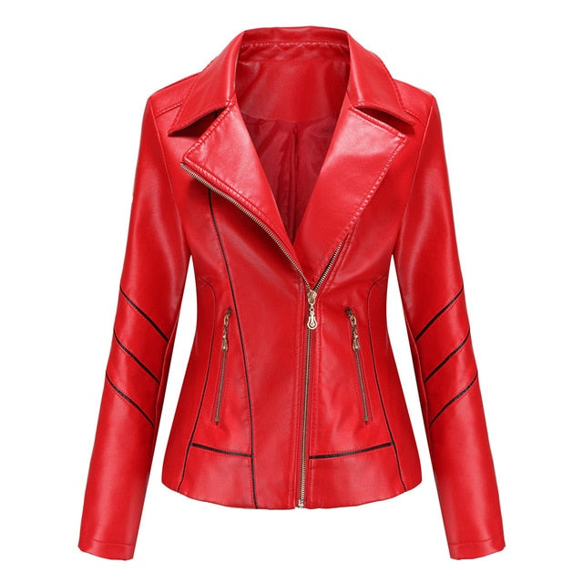 Faux Leather Turn-down Collar Jacket