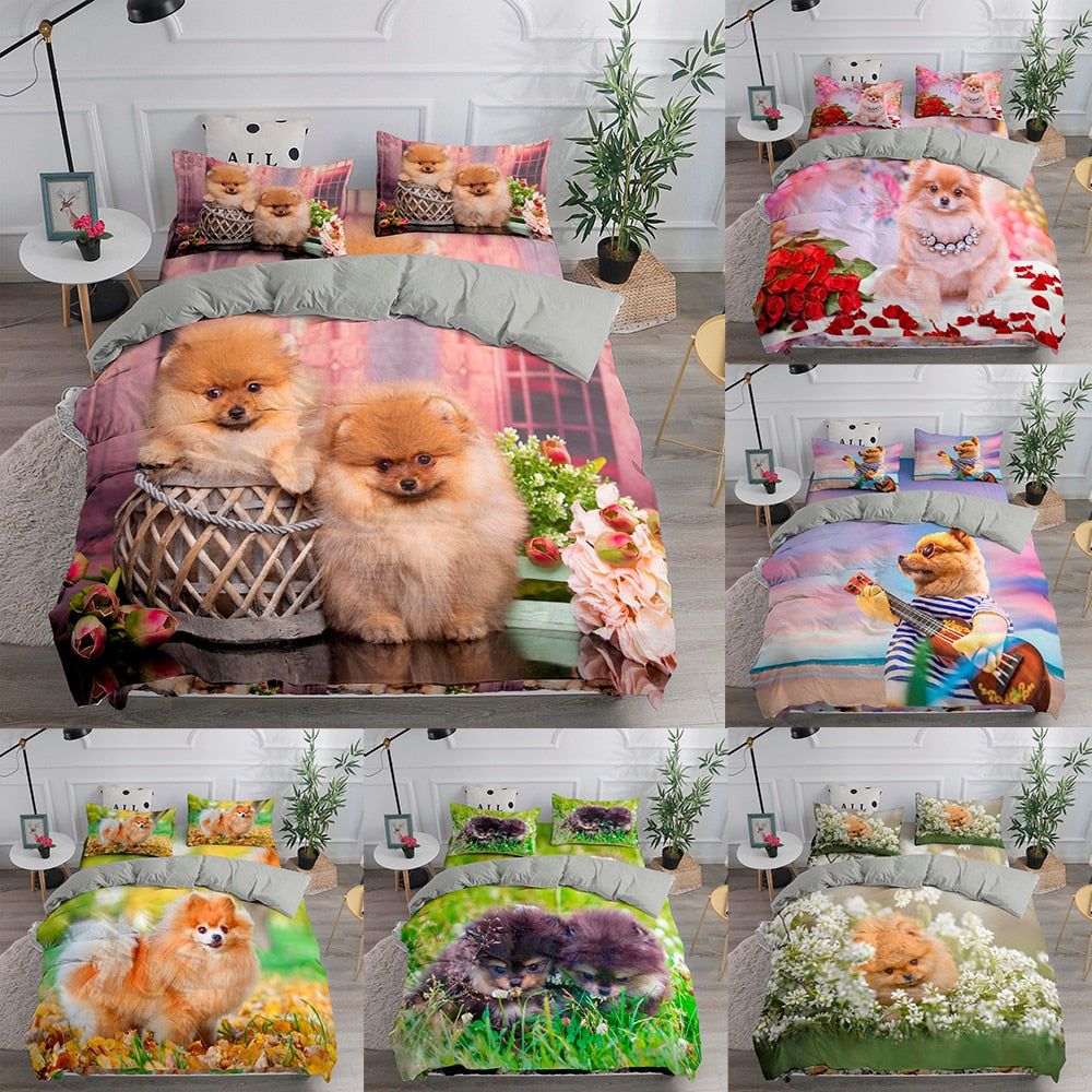 Cute Pomeranian Print Duvet Cover Set