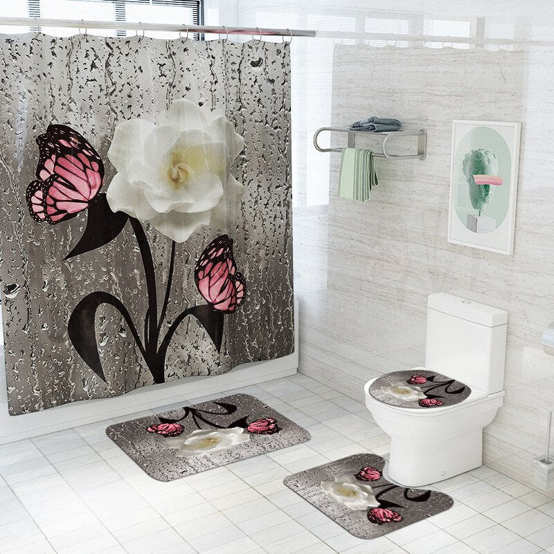 White Rose Pink Butterfly Bathroom Set