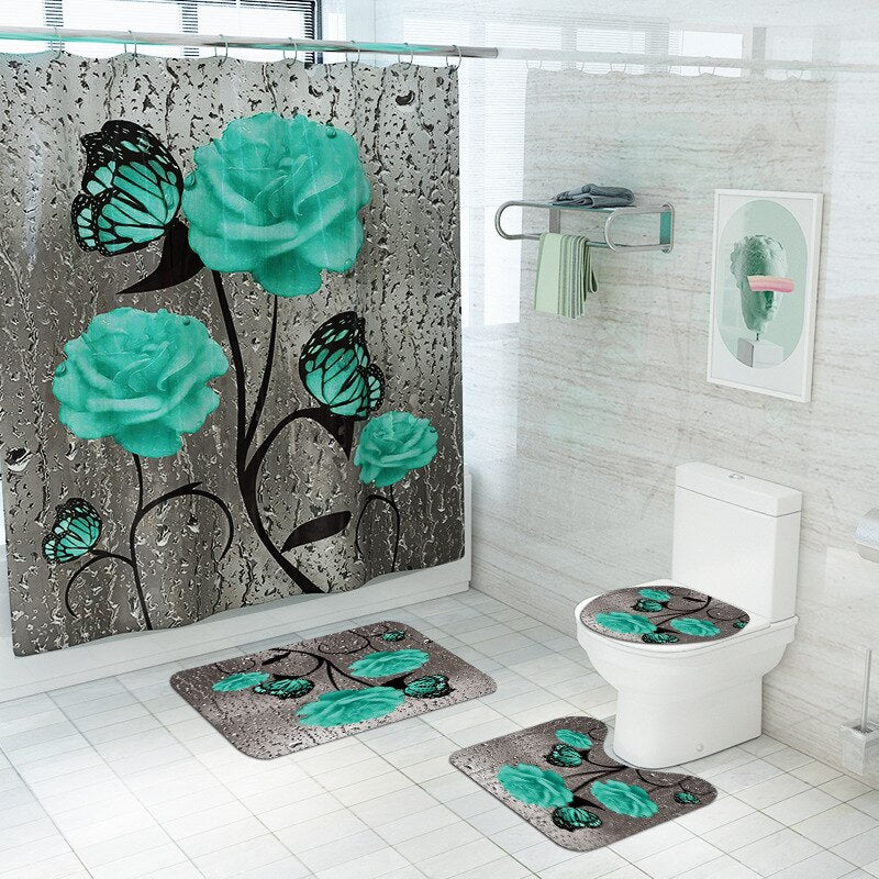 Green Rose and Butterfly Bathroom Set