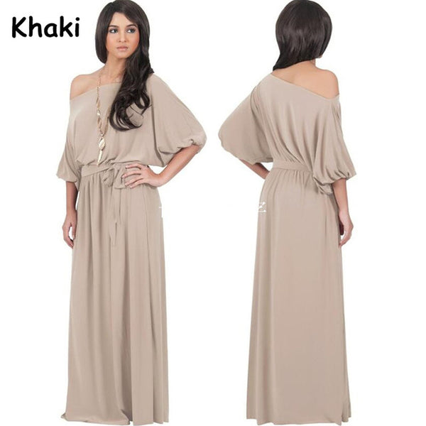 Half Lantern Sleeve Maxi Dress Slash Neck Solid Color Long Dress Evening Party Floor Length Dress | http://chicboutique.com.au