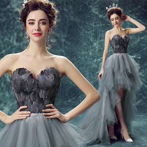 Sexy Off-the-shoulder Short Front Back Long Black Feathers Prom Dresses Banquet Party Cocktail Dress | http://chicboutique.com.au