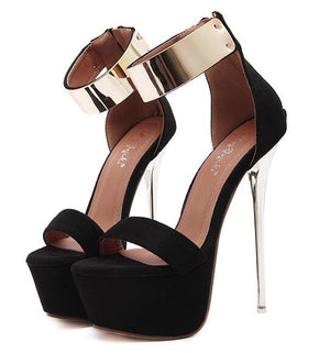 Platform Stiletto High Heels With Gold Ankle Strap - http://chicboutique.com.au