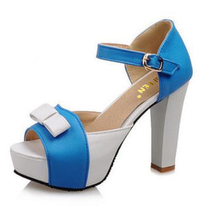 Platform High Heel Pumps With Front Bow - http://chicboutique.com.au
