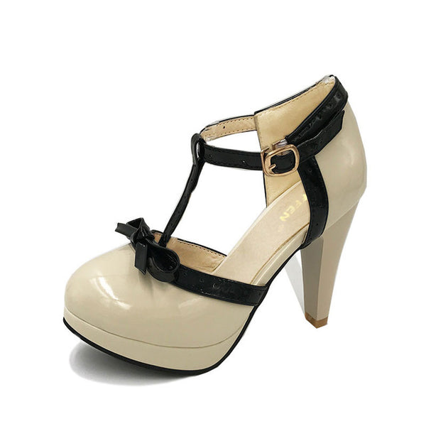 Cute High Heel Pumps With T-Strap And Front Bow - http://chicboutique.com.au