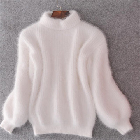 Thick Warm Turtleneck Mohair Lantern Sleeve Pullover