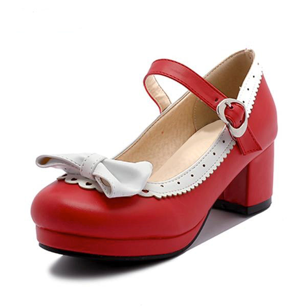 Low Heel Platform Pumps With Trimming And Optional Bow - http://chicboutique.com.au
