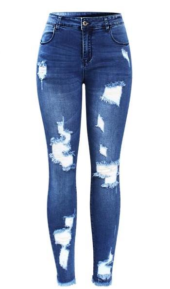 Ultra Stretchy Blue Tassel Ripped Jeans | http://chicboutique.com.au