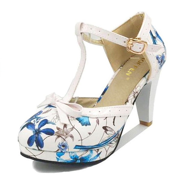 Floral Platform Low Heel T-Strap Pumps With Front Bow | http://chicboutique.com.au