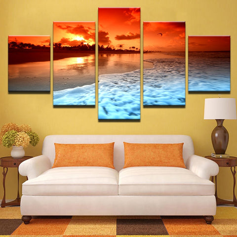 Canvas Painting Wall Art 5 Piece Sunset Beach Sea Waves