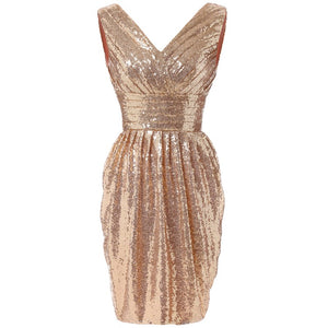 Sequin V-Neck Short Party Dress