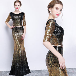 Mermaid Evening Sexy Gradient Color Sequin Fishtail Long Party Gown - http://chicboutique.com.au