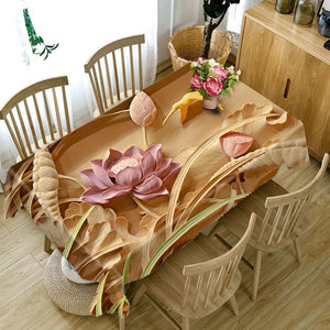 3d Lotus Print Rectangular and Round Table Cloth