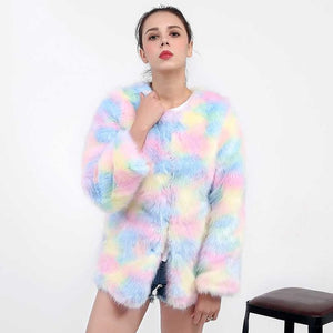 Elegant Faux Fur Multicolor Long Sleeve Coat | http://chicboutique.com.au