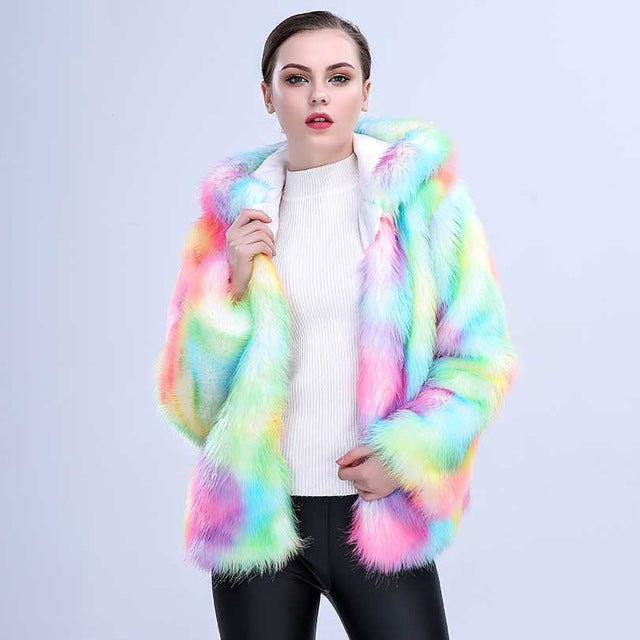 Colorful Faux Fox Fur Coat with Hood Multicolor Long sleeve Jacket | http://chicboutique.com.au