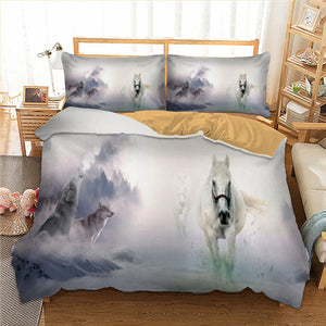 Wolf and Horse Bedding Duvet Cover with Pillow Case | http://chicboutique.com.au