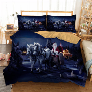 Santa Claus Bedding Horse Duvet Cover with Pillow Cases Christmas Day Set | http://chicboutique.com.au