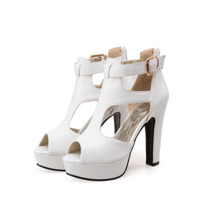 High Heel Platform Peep Toe Buckle Ladies Shoes