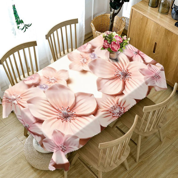 3D Embossed Flower Tablecloth Flower Pattern