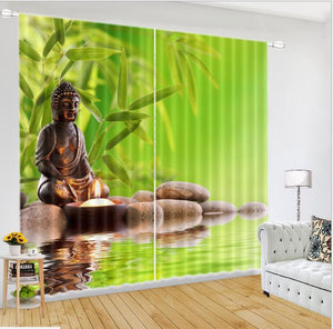 Luxurious 3D Buddha Window Curtain    accessories included