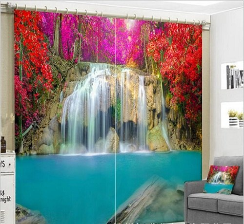 Luxurious Waterfall 3D Blackout Curtains   accessories included