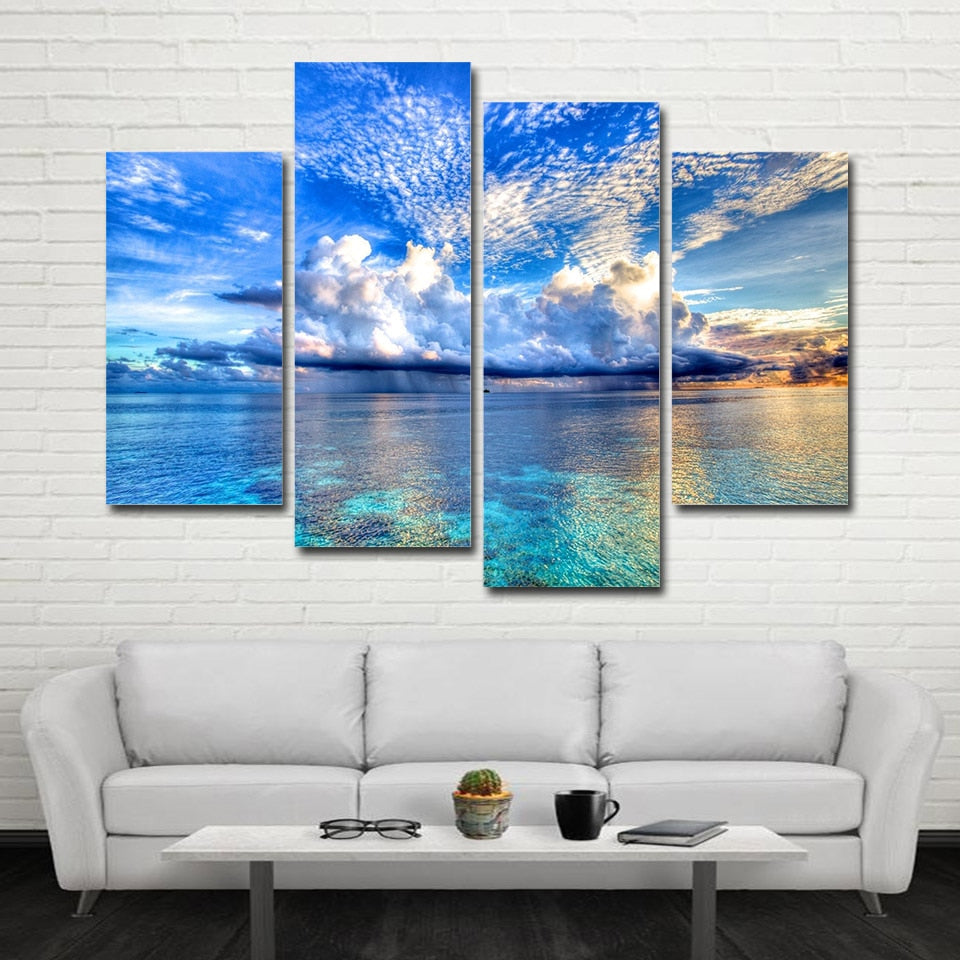 4 Piece Seascape waves Canvas Print Wall Art