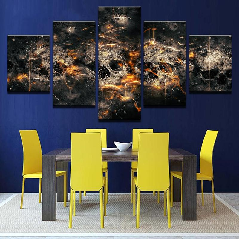 5 Piece skull Painting large Canvas Wall Art