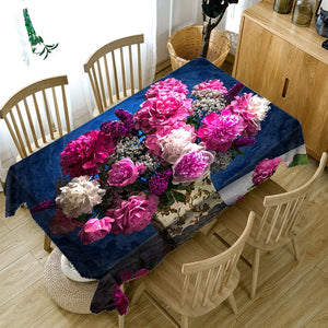 3d Colourful Flower Washable Rectangular Table Cloth | http://chicboutique.com.au