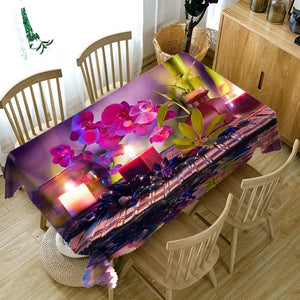 3d Colourful Flower Washable Rectangular Table Cloth