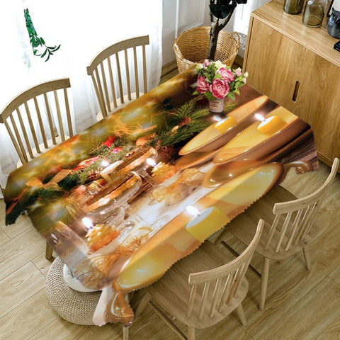 3D Christmas Gold Rectangular and Round Table Cloth | http://chicboutique.com.au