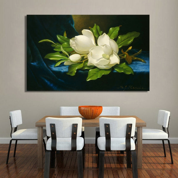 Giant Magnolias on a Blue Velvet Cloth Canvas Wall Art