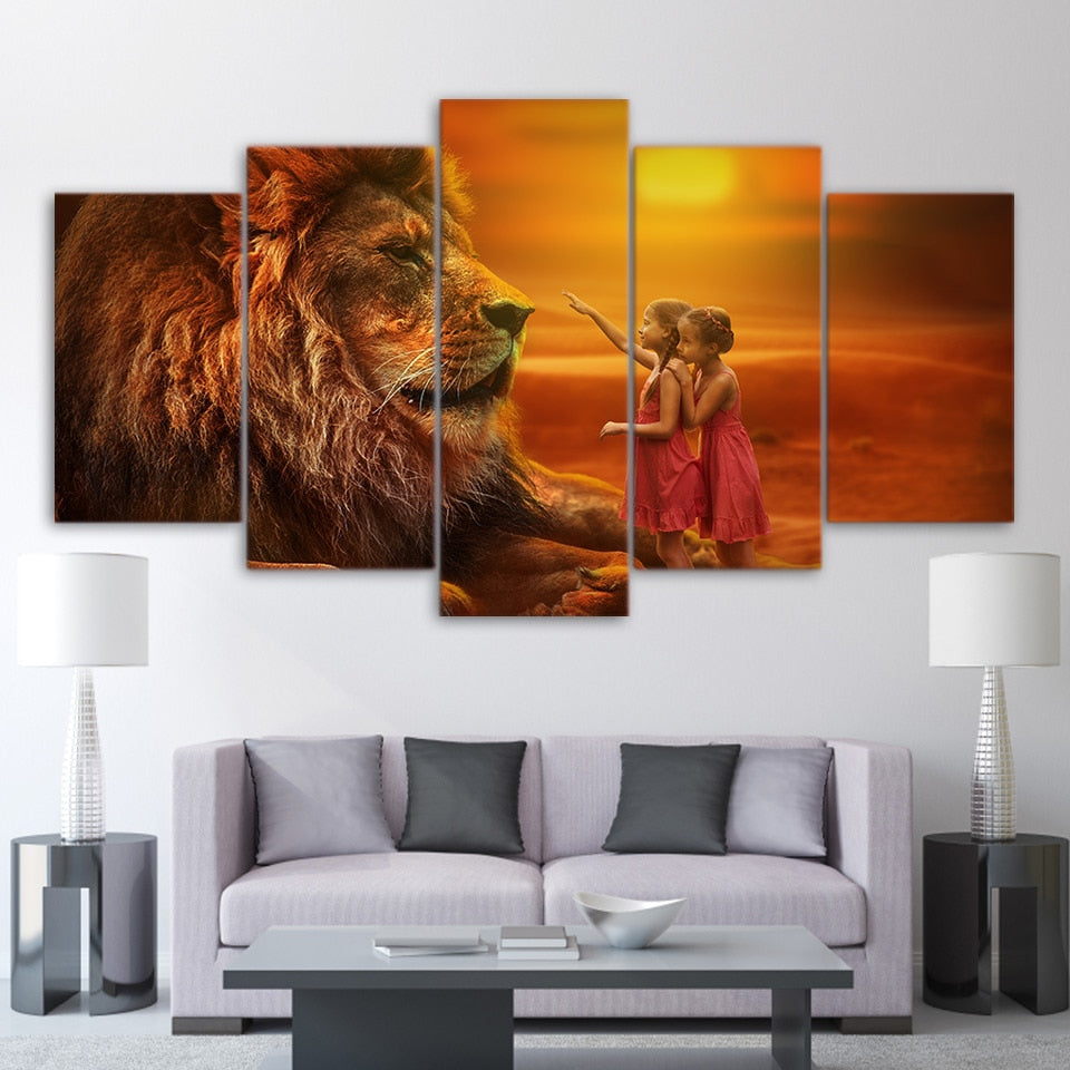 5 Pieces Lion In Golden Sunset Canvas Wall Art