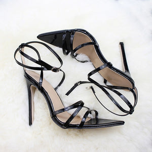 Thin Heel Sandals Ankle Strap Pointed Toe Shoes