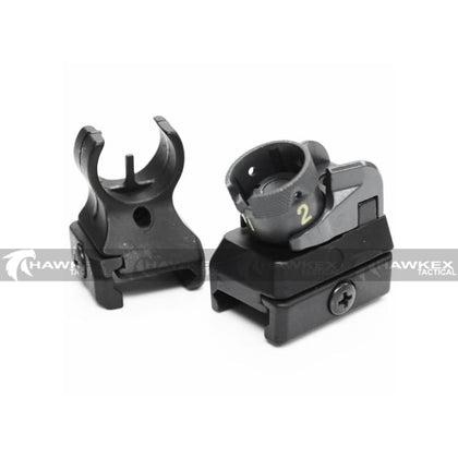 HK416 Metal Iron Sight Set (Front & Rear) - Hawkex Tactical