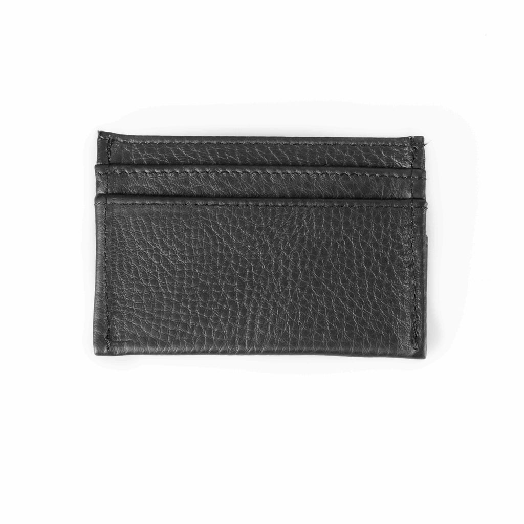 Black leather cardholder. Barrels of London. Rear view