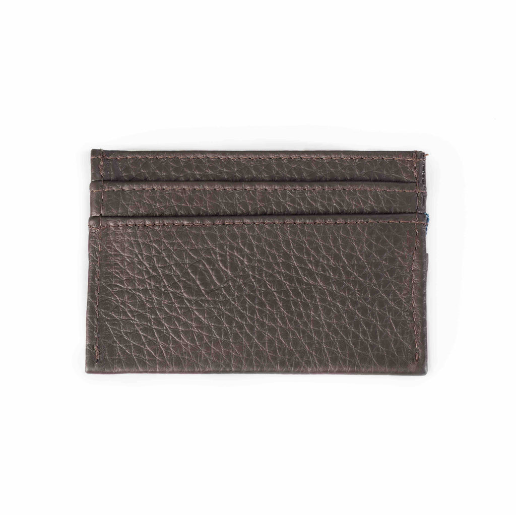 Brown leather cardholder. Barrels of London. Rear view