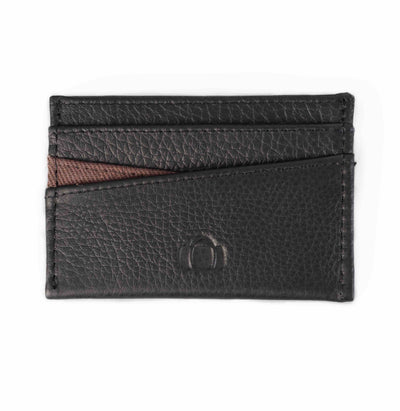 Black leather cardholder. Chelsea collection, brown canvas. Barrels of London. Front view